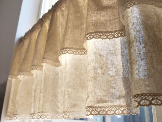 Natural Linen Cotton Cafe Curtain Valance with by 20CentsSupplies