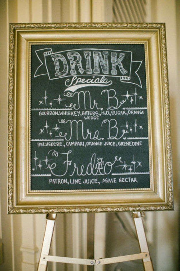 Use some glitzy paint to turn an old frame into a fancy-shmancy chalkboard and show off your signature cocktails: | 24 DIY Decorations That Will Make Any Wedding Look Like A Million Bucks
