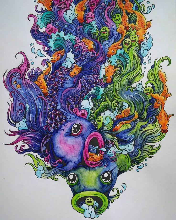 Doodle Fishy Doodleinvasion Kerbyrosanes Coloring Coloringbook Hobby Kolorowankidladoroslych