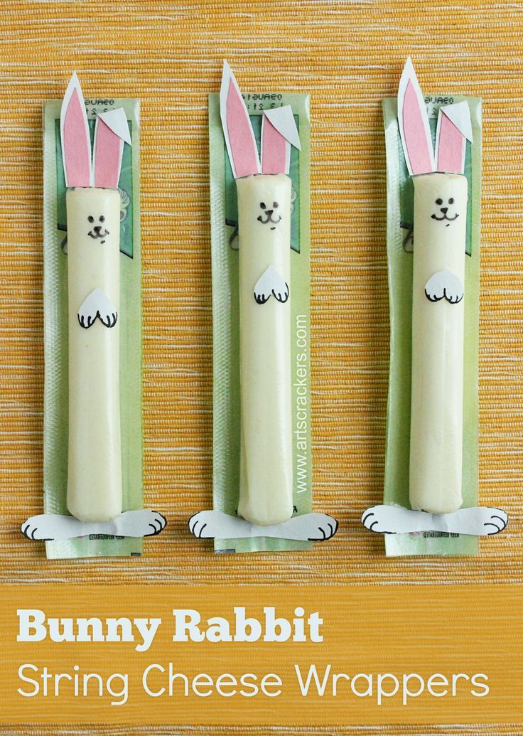 DIY Bunny Rabbit String Cheese Wrappers - a fun Easter snack idea! (great for class parties)