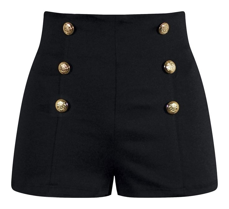 High Waisted Pin Up Shorts - Black