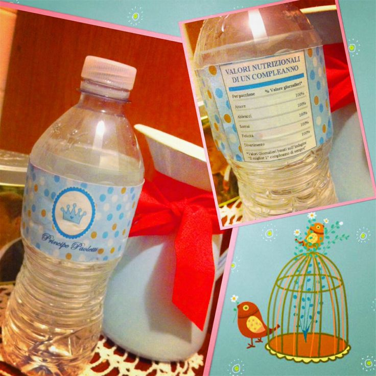 Prince 1st birthday party: water bottle (for my sweet babyboy). Primo compleanno a tema principe: bottiglie dell'acqua personalizzate per il mio amore!