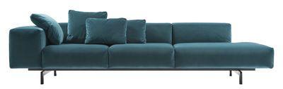 Canapé droit Largo Velluto / 3 places - L 298 cm -Velours Velours bleu canard - Kartell - Décoration et mobilier design avec Made in Design