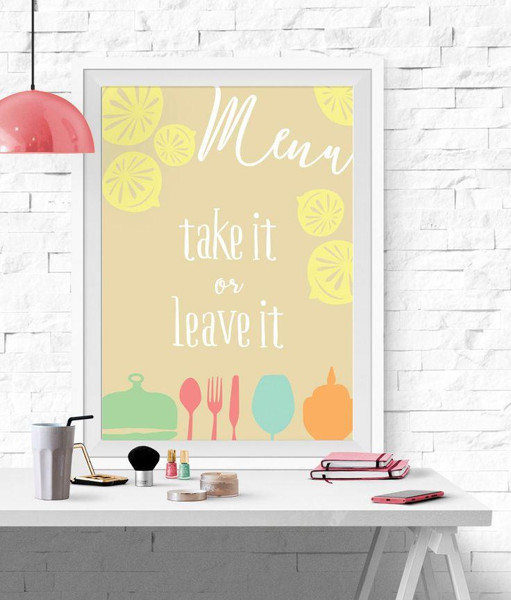 Menu Del Giorno, Today's Menu, Poster Divertente, Take It Or Leave It, Stampa Arredo, Poster Cucina, Decorazione Cucina, Poster Menu, Giallo di planeta444 su Etsy