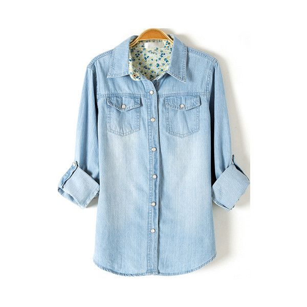 Light Blue Lapel Long Sleeve Bleached Denim Blouse ($11) ❤ liked on Polyvore featuring tops, blouses, shirts, romwe, blusas, blue, blue long sleeve shirt, slim shirt, blue blouse and long-sleeve shirt