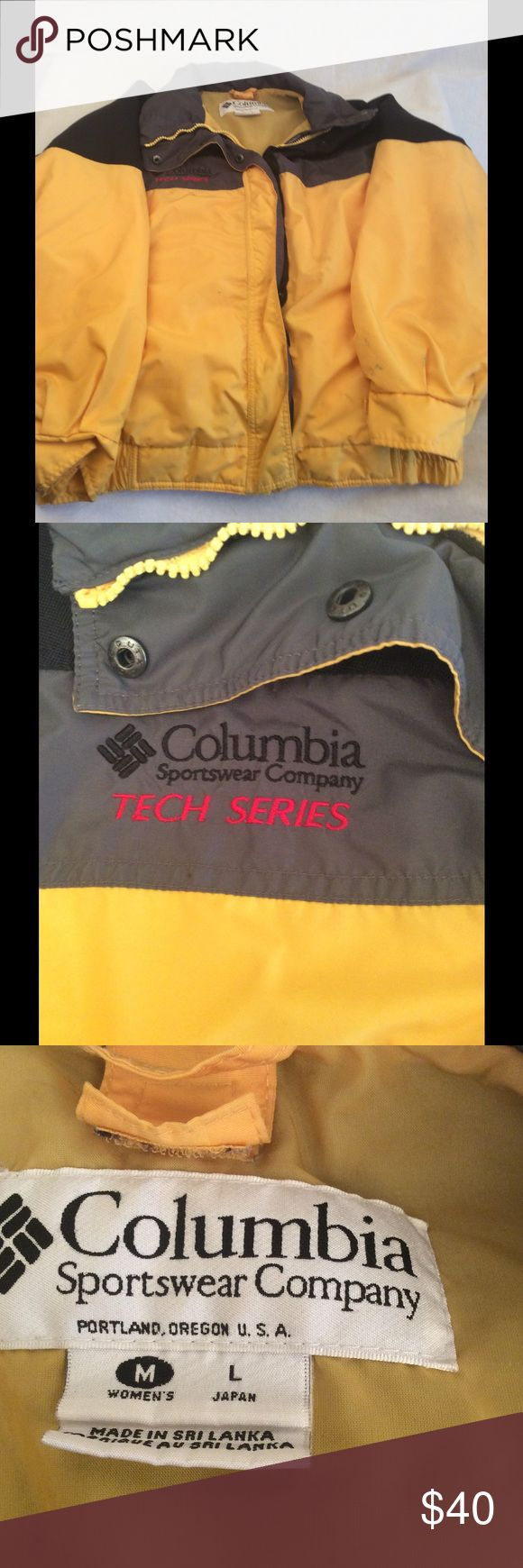 Women's Columbia Tech Series Jacket Women's size medium yellow and black Columbia Tech Series zip up jacket, in good condition, has some spots on end of sleeve otherwise flawless, comes from a smoke free home. Reasonable offers considered  ✅Bundle for a discount & save on shipping  ✅Same/next day shipping Columbia Jackets & Coats Utility Jackets