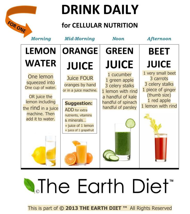 daily juice schedule to follow.  Why juicing? BECAUSE our body loves it, absorbs it, it is cellular nutrition. Our bodies, minds and soul seem to work best on whole real organic juices!  Here are some benefits of juicing:   1. Aids in weight loss 2. Clears the skin  3. Increases energy  4. Provides essential minerals, vitamins and nutrients