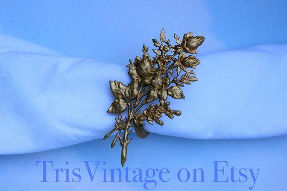 Set of 10 Vintage Gold Toned Metal Bouquet of Roses Napkin
