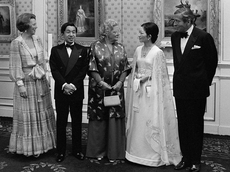 Crown Princess Beatrix, Emperor Akihito, Queen Juliana, Empress Michiko and Prince Claus