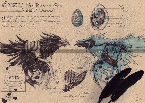 Welt von Warcraft Kunstdruck Anzu von Zellgarm auf Etsy