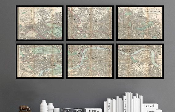 London, England Map as a Framed Set. Map of London. FRAMED Map set of 6 Archival Prints, 11x14 or 18x24 Framed Map Set.   MAP DETAILS:  This is a very Cool map of London that is taken from an 1890 birds eye view of the city. Each map section is pre-cut at 11x14 or 18x24 inches. This map is