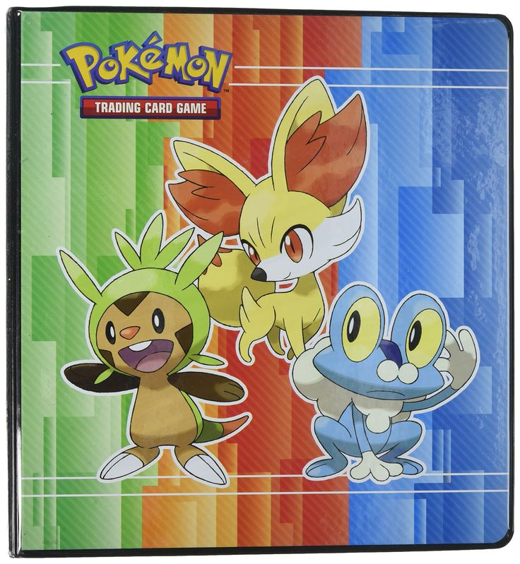 Pokemon X & Y 3-Ring Binder with 25 Platinum Ultra-Pro 9-Pocket Pages (Chespin, Fennekin and Froakie on front, Energy Symbols on back) 2 Inch XY Album