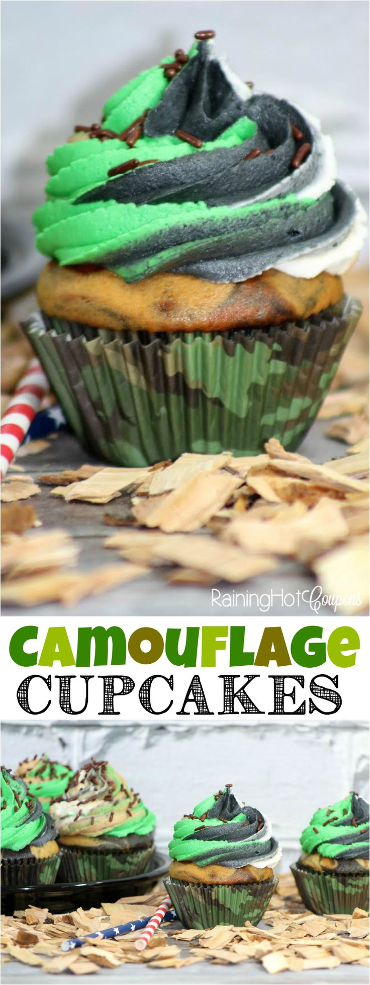 Camouflage Cupcakes - The camo cupcakes are perfect for holidays and birthday parties!
