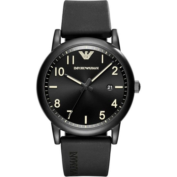 Emporio Armani Ar11071 Men`s Luigi Watch ($215) ❤ liked on Polyvore featuring men's fashion, men's jewelry, men's watches, emporio armani mens watches, mens black face watches, mens leather strap watches, matte black mens watches and mens watches