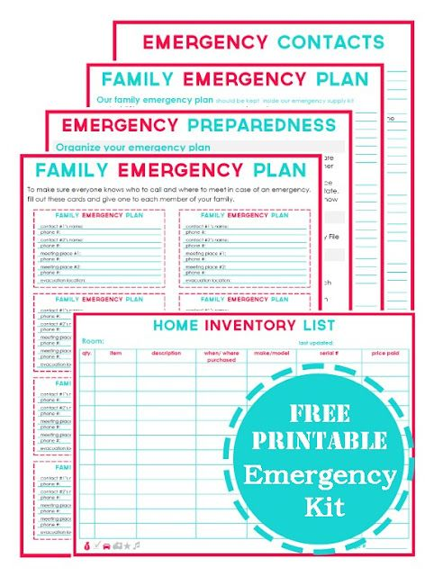 Family Emergency Printable Planning Kit