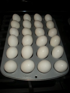 Use a muffin tin to hard boil eggs in the oven. Bake at 325 for 25-30min.