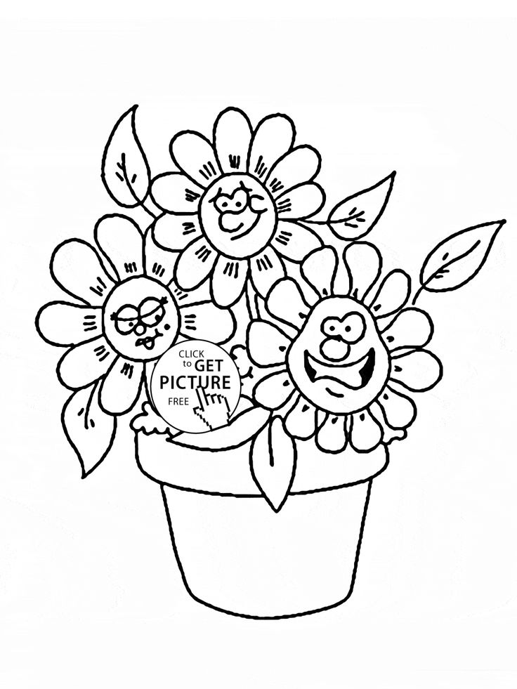 Funny Cartoon Flowers Coloring Page For Kids Flower