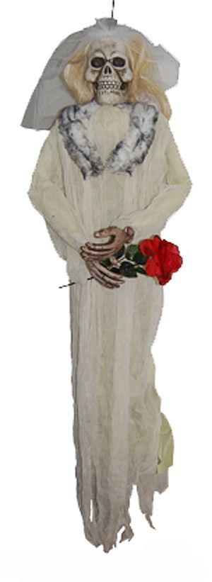 Halloween party decoration of a skeleton bride dress in her veil and bridal gown with fur around her collar and clutching a red rose in her skeletal fingers. Hang this scary skeleton bride Halloween decoration from walls, doors, trees or wherever for a scary Halloween and you can buy online or instore at our Sydney party supplies shop.