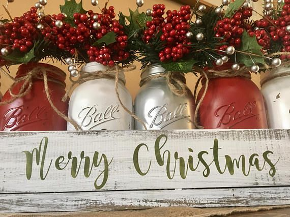 Rustic Christmas Decor Candy Jar Christmas Table Decor Winter Decor Painted Mason Jars Green Mason Jars Christmas Mantle