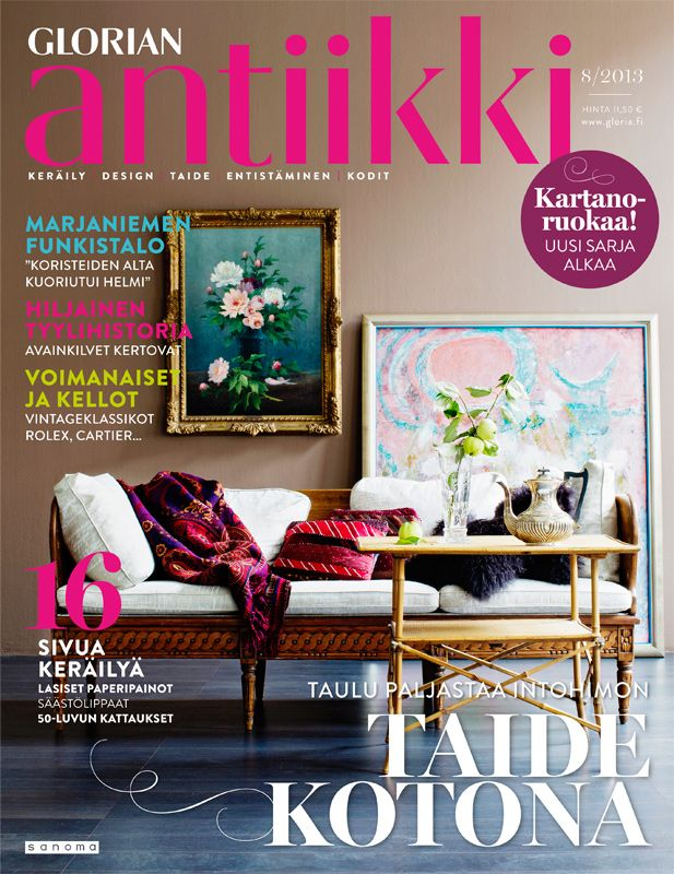 Magazine cover 8/2013. Art and antique furniture perfectly matched. Photo Päivi Ristell.