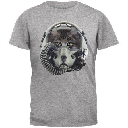 804fd83b Jet Fighter Cat Heather Grey Adult T-Shirt - Walmart.com | Cat Shirts |  Pinterest | Shirts, Cat shirts and Cats
