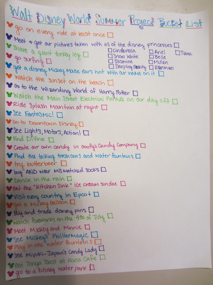 Bucket list for Walt Disney World Summer Project 2012 :)