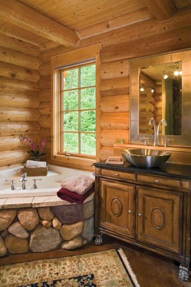 150 best dise o y decoraci n images on pinterest cabanas for Log cabin bathroom designs