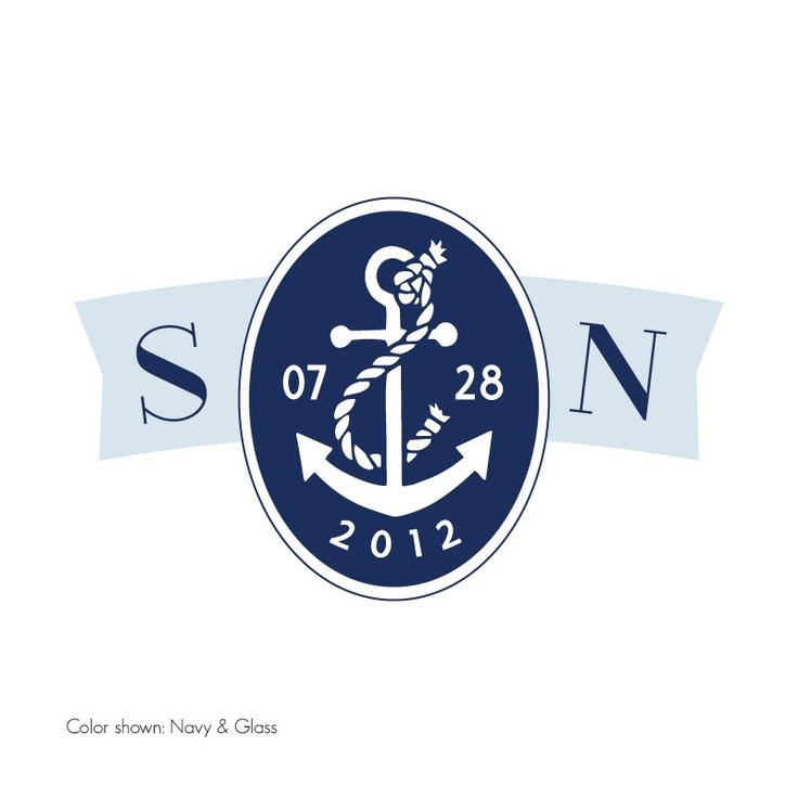 Custom Wedding Monogram Logo Nautical Chic By Typeten On