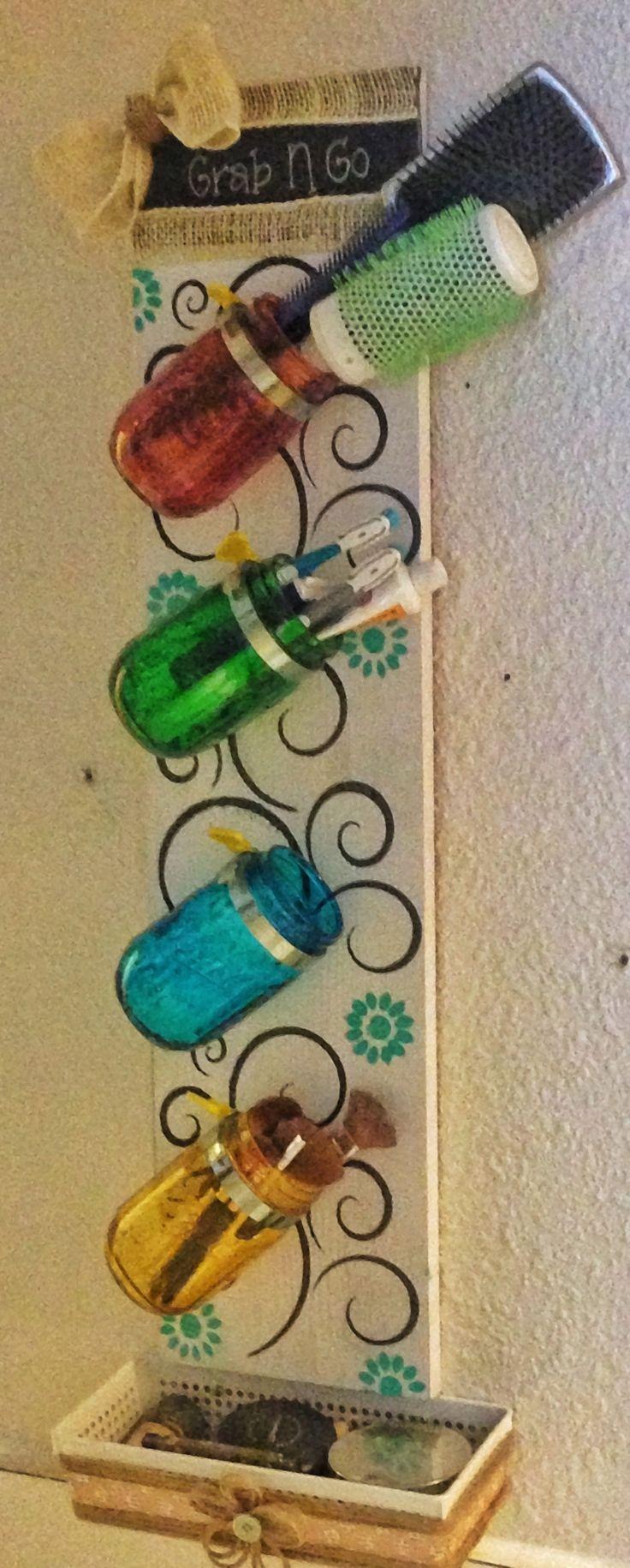 Stained mason jar, bathroom organizer I put together