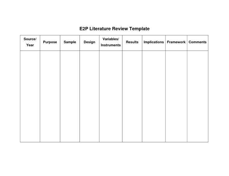 Literature Review Matrix Template - Google Search | College