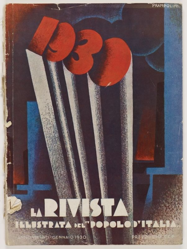 """La Rivista, anno VIII, n. 1 (Gennaio, 1930), front cover: [Illustration in Expressionist style of four elongated columns forming """"1930"""" at their apex, signed] Prampolini"""