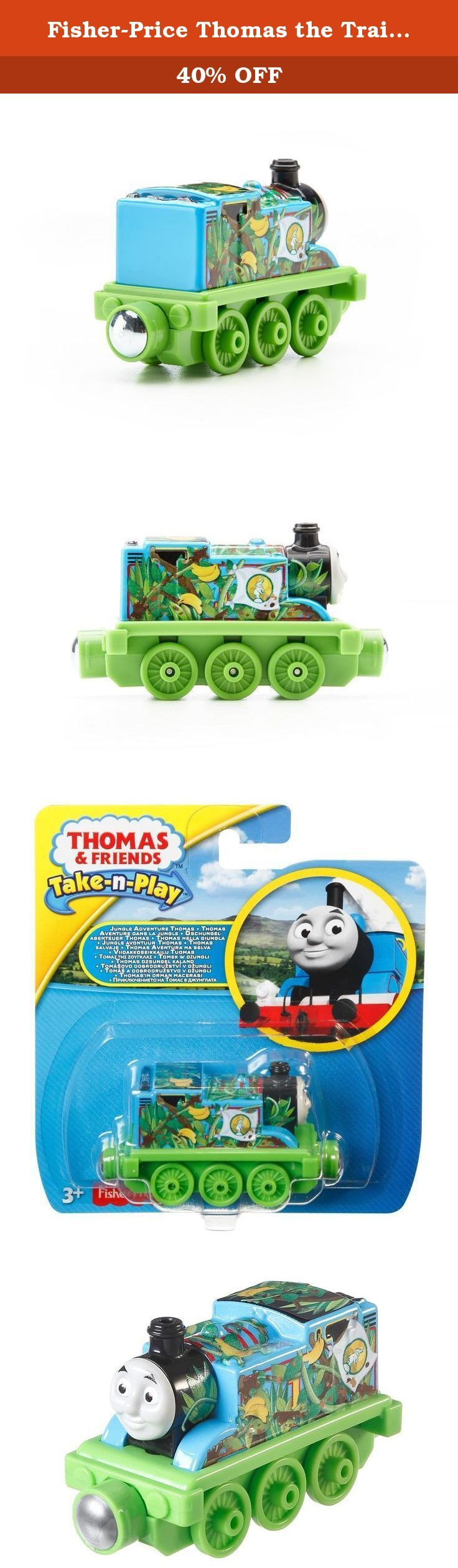 Fisher-Price Thomas the Train Take-n-Play Jungle Adventure Thomas. Thomas & Friends Take-n-Play Jungle Adventure Thomas is a durable die-cast metal engine. Thomas is decorated in a jungle theme, ready for a wild adventure! Perfect for Take-n-Play Portable Fold-Out Playsets (sold separately and subject to availability).
