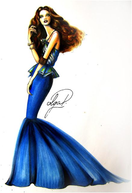 how to draw a blue dress