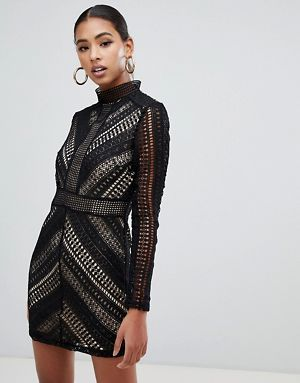 bbcf45bb0d6a3 Boohoo high neck crochet panel bodycon dress in black | בגדי ערב ...
