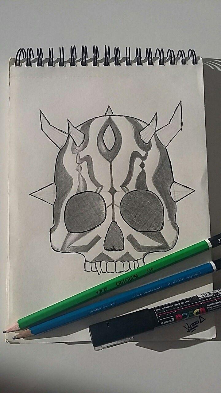 Dessin du crâne de dark maul   Dark maul, Dessin, Art