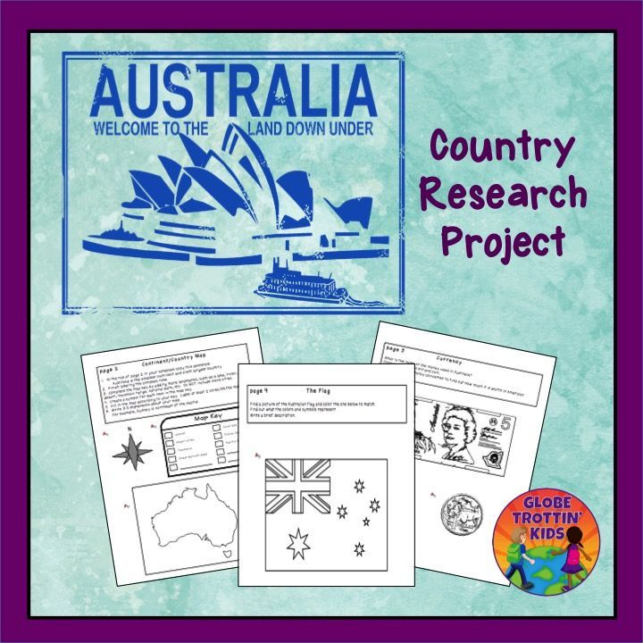 Students complete a variety of activities as they research the geography and culture of Australia. The activities are glued into a separate notebook or journal (not provided), creating an artifact that students can share and keep. https://www.teacherspayteachers.com/Product/Australia-Research-Project-1495990