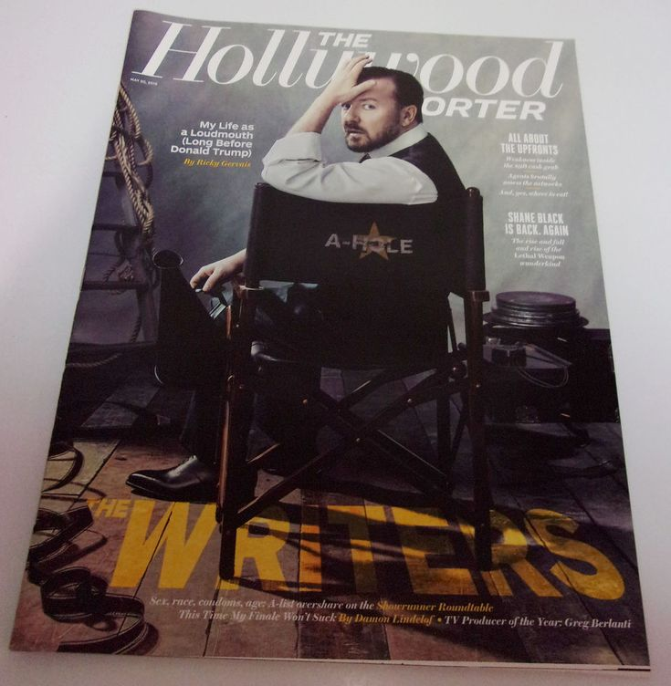 Ricky Gervais Hollywood Reporter May 2016 Shane Black Greg Berlanti Title Cards