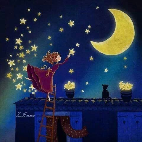 girl decorating the night sky : moon and stars: