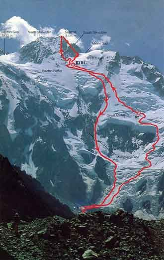 Reinhold Messner Nanga Parbat Diamir Face Solo Climb Route 1978 - Solo: Nanga Parbat book