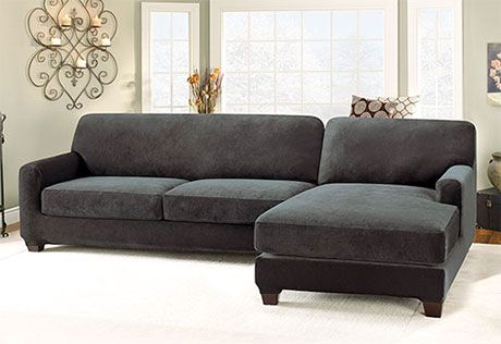 Photo of Stretch Pique Two Seat with Chaise Sectional Covers