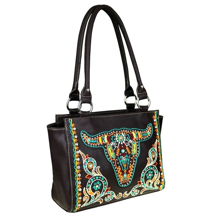 Montana West Embroidered Collection Concealed Handgun Trapezoid Tote Bag