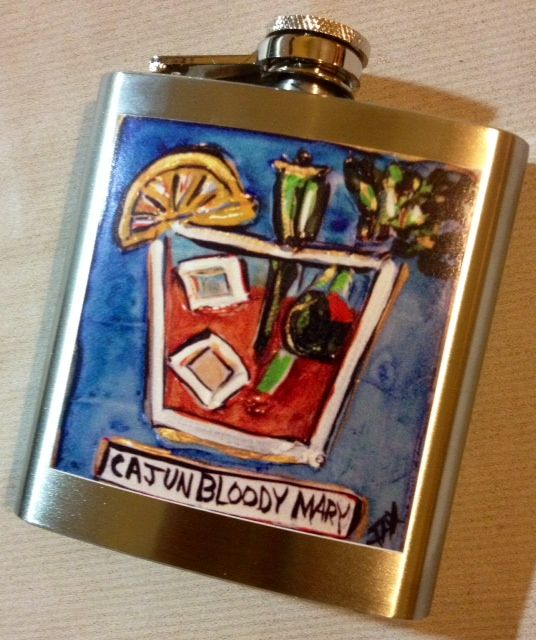 My Cajun Bloody Mary Flask - - image by Jax Frey, New Orleans Artist - available on www.artbyjax.com - New Orleans paintings for sale