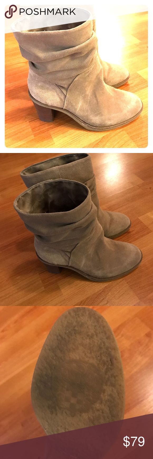 Vince Camino slouchy boots Super cute slouchy boot. Mushroom color. Very comfortable with a small heel and in great condition. Just some wear on the bottom as shown in pics. Vince Camuto Shoes Ankle Boots & Booties