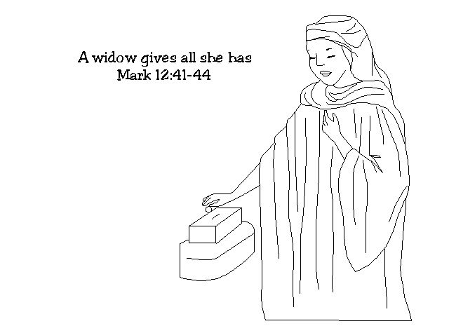 the widows gift coloring pages - photo#8
