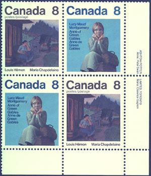 1975 Authors Issue - matched set of imprint blocks. Lucy Maud Montgomery, author of Anee of Green Gables. Popular world wide and Louis Hemon - author of Maria Chapdelaine. One of the most popular issues. VF-NH.