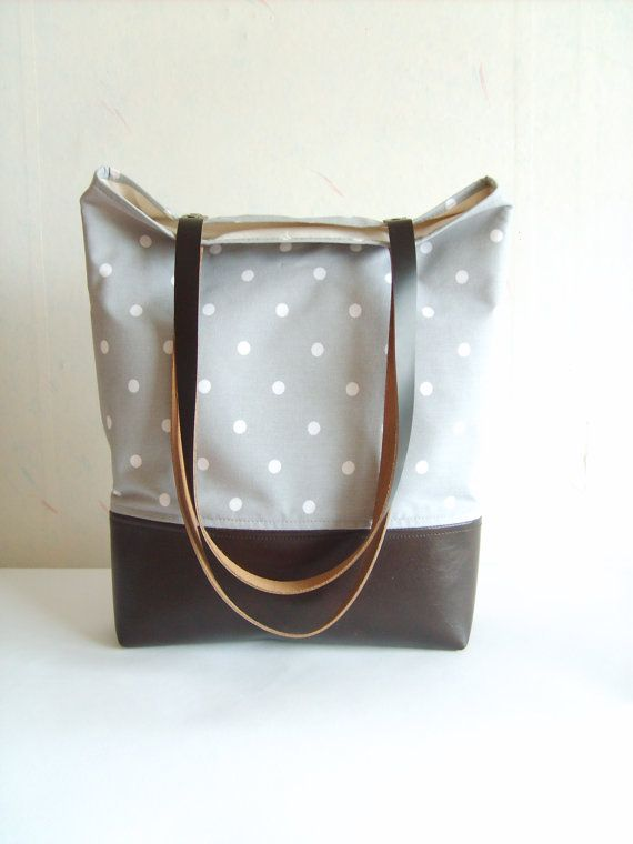 Polka dot tote bag leather and canvas tote grey tote by allbyFEDI