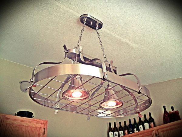 Image of Kitchen Pot Rack Light with Ceiling Pendant Fixture Using Small…