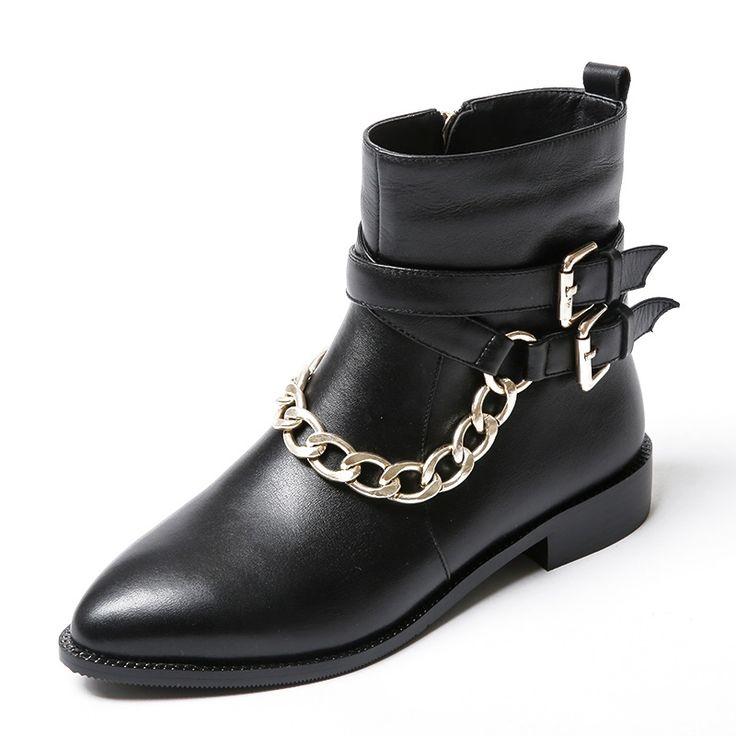 Ketten Korn Leathe rankle stiefel Spitz frau partei schuhe Kleber low heels 2,5 cm Gummi mode damen frau schuhe //Price: $US $58.30 & FREE Shipping //     #dazzup