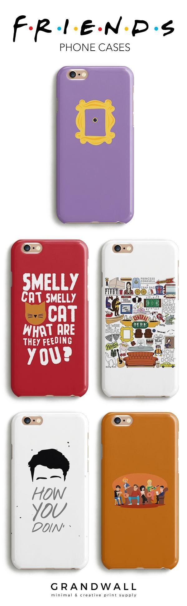 """Use Code """"PINTEREST"""" for 10% off these Friends tv phone cases for the ultimate fans of the show available in all models for the iPhone as well as options for Samsung devices. Available here: http://grandwall.co/collections/friends-collection"""