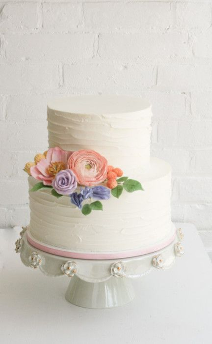 rustic buttercream cake with sugar flowers | erica obrien cake design